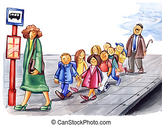 polite children on bus stop - painting illustration of...
