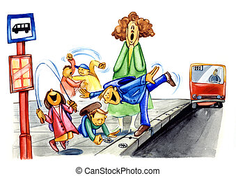 naughty school children on bus stop - painting illustration...