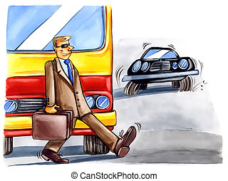 reckless man on the street - painting illustration of...