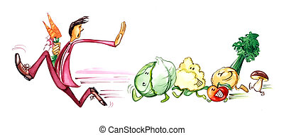 man on diet - humorous illustration of man on diet running...