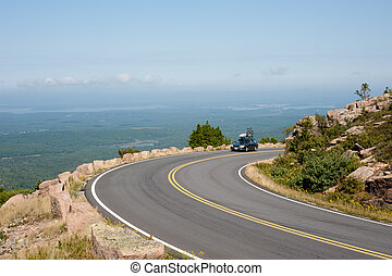 Driving Cadillac Mountain - Car on Cadillac Mountain drive...