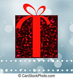 Red gift on a silver shine background. EPS 8