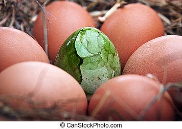 復活節, 巢, 蛋, 綠色