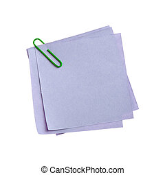 Blue paper note with green clinch. It is attached red pin on...