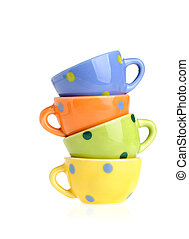 Color cups. Tiny utensils it is isolated on a white...