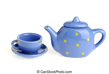 cups and teapot. Tiny utensils it is isolated on a white...