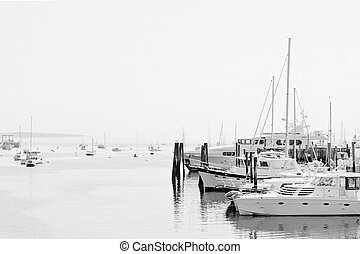 Southwest Harbor, Maine - Yachts in morning mist in...