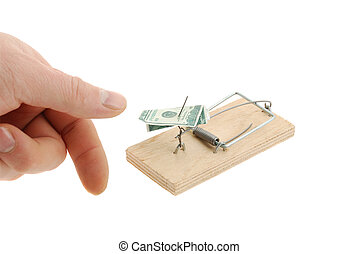 Mousetrap with dollar and finger - Mousetrap with dollar and...