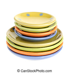 colors plates. Tiny utensils it is isolated on a white...