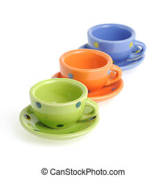 Color cups Tiny utensils it is isolated on a white...