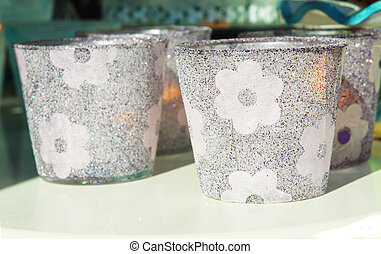 decorative glass - glasses with flowers decoration