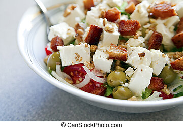 Greek Salad - close-up greek salad with fresh vegetables,...