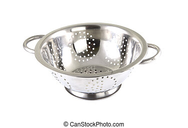 Single chrome strainer on a white background