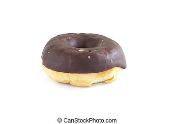 Single donut on a white background