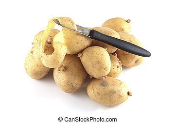 Pealing potatoes on a white background.