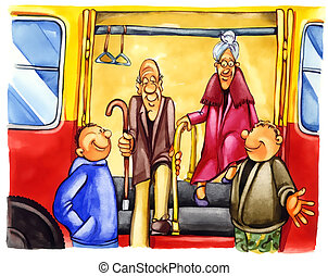kind boys on bus stop - painting illustration of kind boys...