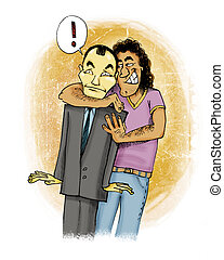 sudden hug - humorous illustration of italian guy giving a...