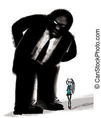 bad boss - humorous illustration of bad boss and frightened...