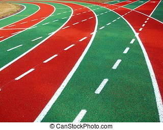 Athletic Track and Field Markings - A running track in a...