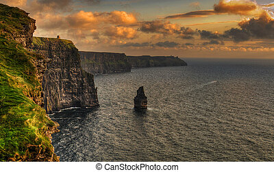 famous cliffs of moher, sunset, county clare, ireland