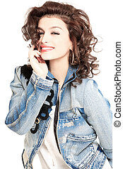 brunette in jeans jacket - young gorgeous brunette model in...