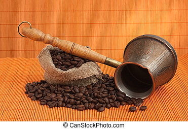 coffee beans and coffee maker - coffee beans and copper...