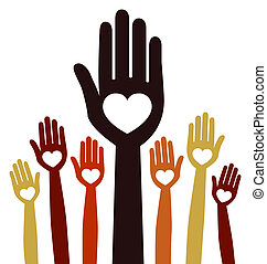 People united vector. - A large group of united hands with...