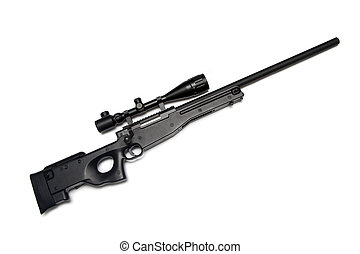 Sniper rifle with riflescope. - Modern military sniper rifle...