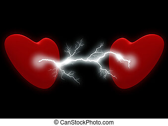 Two hearts with the electric discharge. It is isolated on a...
