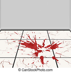 Spot of blood on a tile