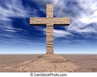 Stone cross on the cracked ground (the contrast sky)