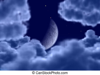 The moon in clouds Detailed image the moon and cumulus...