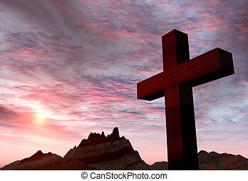 Red stone cross on a background of extremely storm sky and...