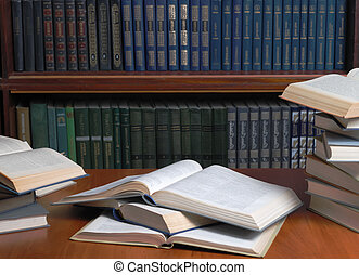 day before examination - Books Textbooks spread out to a...
