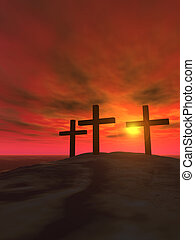 Three crosses_vertical - Three crosses on a hill on a...