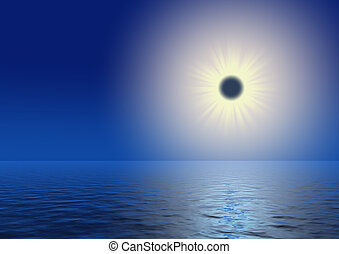 eclipse the sun with a light path on water