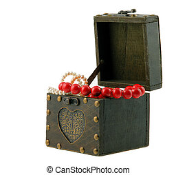 wood casket with jewelry