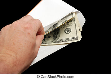 Bribe in an envelope and hand - Bribe. Criminal activity,...