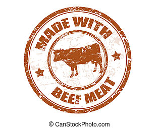 made with beef meat stamp - grunge office rubber stamp with...