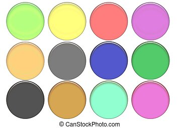 Set round color glass buttons (volumetric buttons for WEB...