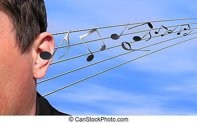 Listening to music - Musical notes flying in an ear