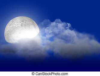 Moon and cloud - The full moon with light behind clouds