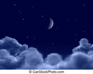 Moon - The moon in clouds (the Detailed night image of the...