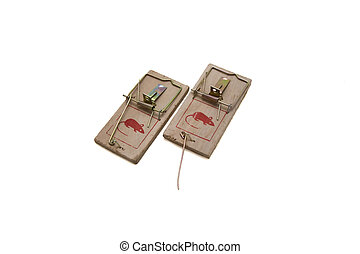 Two mousetraps on a white background