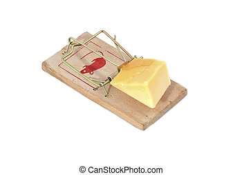 Mousetrap with cheese - A mousetrap with cheese as bait.