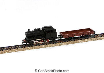 Model train on a white background.