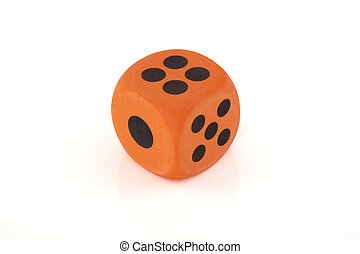 One dice - On orange dice on a white background.