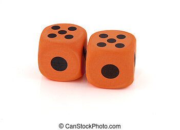 Two dices on a white background