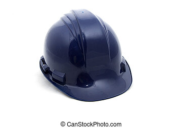 Blue safety helmet on a white background.