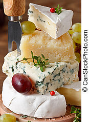 Cheese. - Assortment of tasty italian and french cheese.